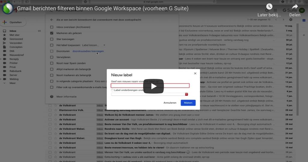gmail filters bij de Google Workspace Specialist
